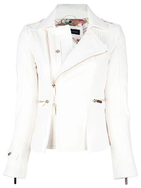 White Quilted Leather Jacket dsquared2 quilted leather jacket in white lyst