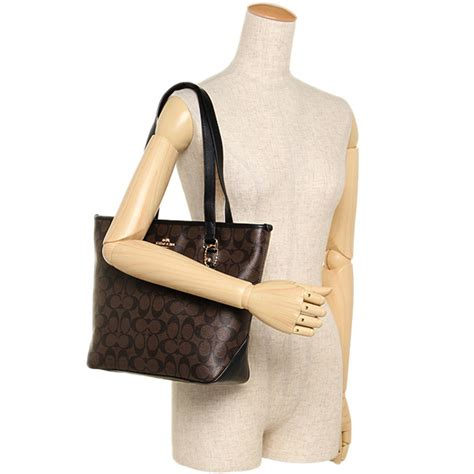 Coach Top spreesuki coach zip top tote in signature canvas brown