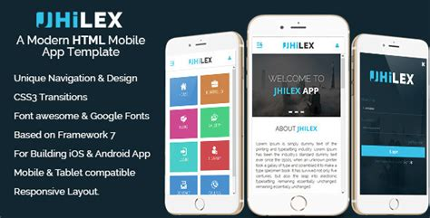 Jhilex Mobile App Html Template By Bootxperts Themeforest Mobile App Html Template Free