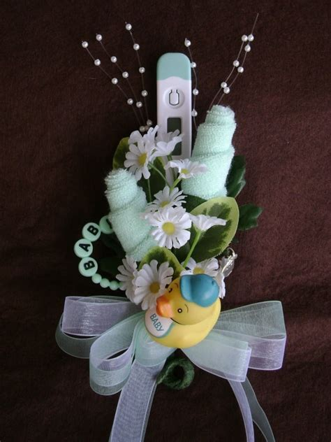 Washcloth Crafts Baby Shower by Baby Washcloth Corsage Boy Or Baby Shower By