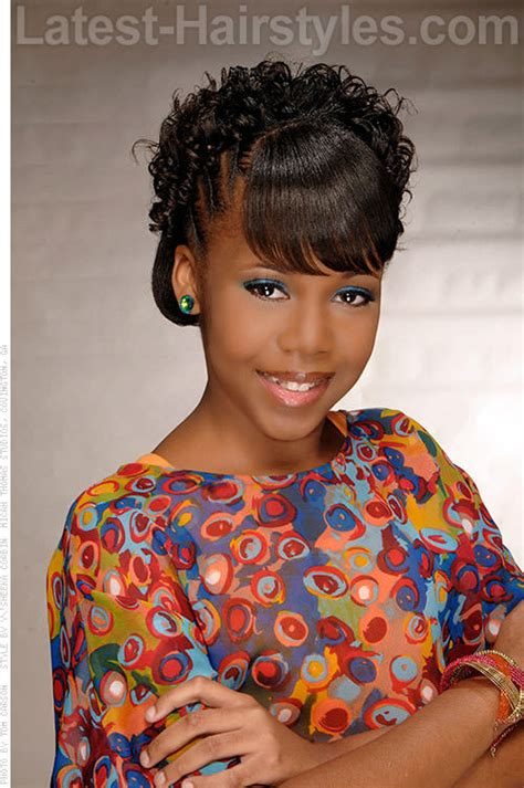 Haitian Beautiful Hairstyles For Adults by Black Kid Updo With Bangs Hair Black