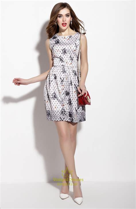 Summer Flare Dress sleeveless polka dot summer fit and flare skater dress