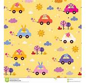 Cute Animals Driving Cars Kids Pattern Stock Image