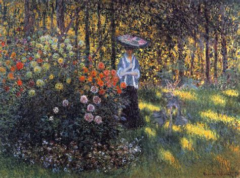 Monet In The Garden by With A Parasol In The Garden In Argenteuil 1875