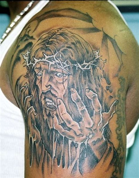 shoulder tattoo pain jesus black ink on shoulder tattooimages biz