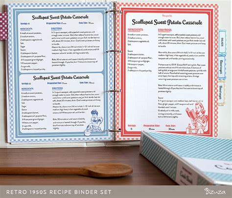 pages cookbook template recipe book binder set retro 1950s style printable recipe