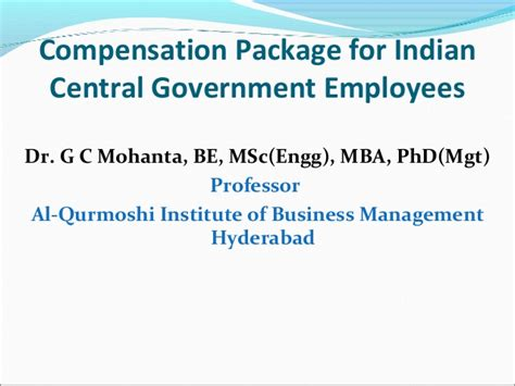 Hyderabad Central Mba Average Package by Compensation For Indian Central Government Employees