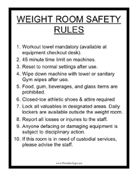 safety in the weight room printable weight room safety sign