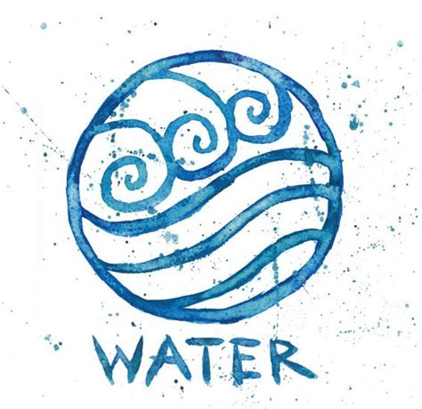 water sign tattoo watertribe symbol 9x9 watercolor painting print avatar