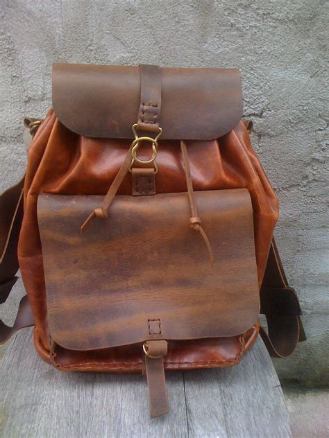 Handmade J - leather backpack handmade stitched bag for and