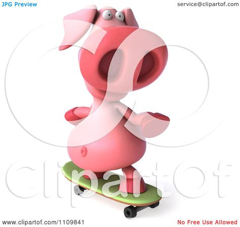pookie doodle puppy sings his song clipart 3d pookie pig skateboarding 2 royalty free cgi