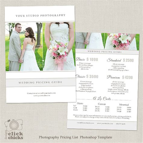 Wedding Photography Price List by Wedding Photography Package Pricing List Template