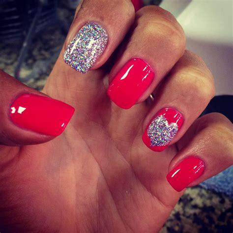 valentines nail pink glitter nails nails