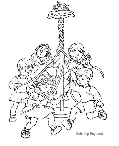 spring coloring book page the may pole