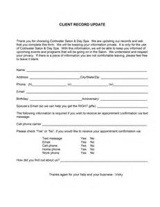 client consultation form template custom packages coldwater salon day spa