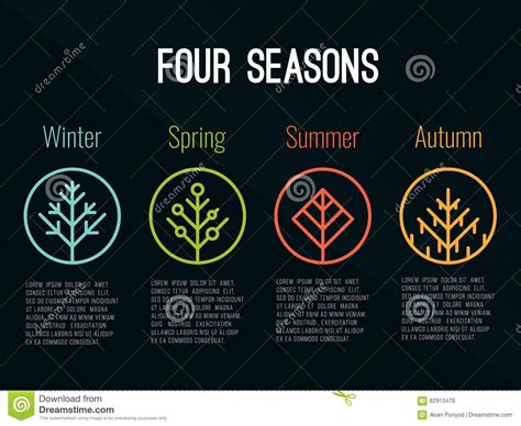 4 Seasons Tree Icon Sign In Circle Winter Spring Summer