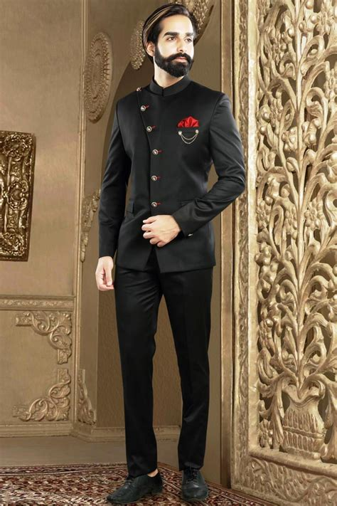 designer mens wear jodhpuri suit  black rayon