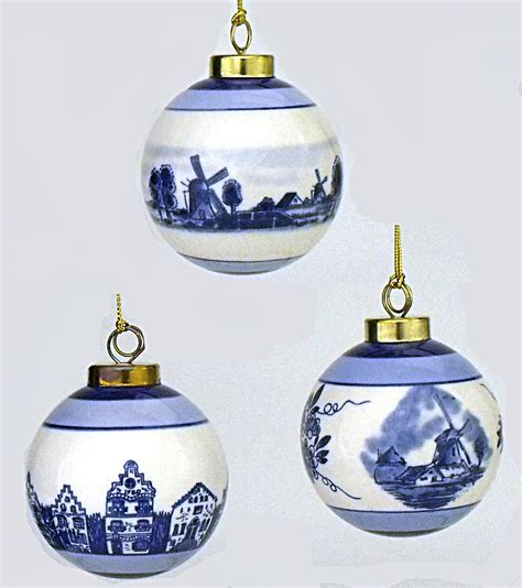 set of 3 delft blue and white ceramic ball ornaments