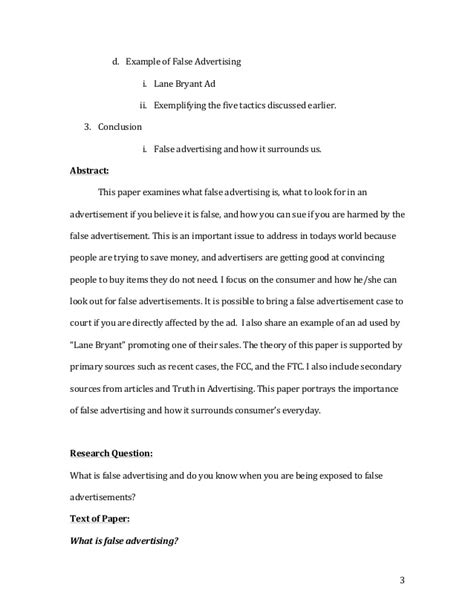 research paper on advertisement false advertising research paper