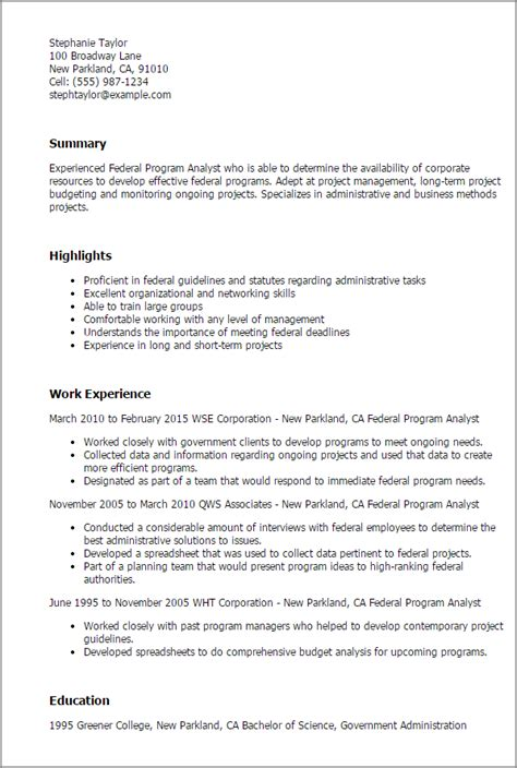 Program Analyst Resume by Professional Federal Program Analyst Templates To Showcase