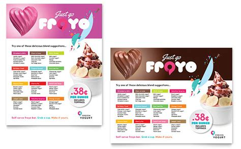 illustrator templates for posters frozen yogurt shop poster template design