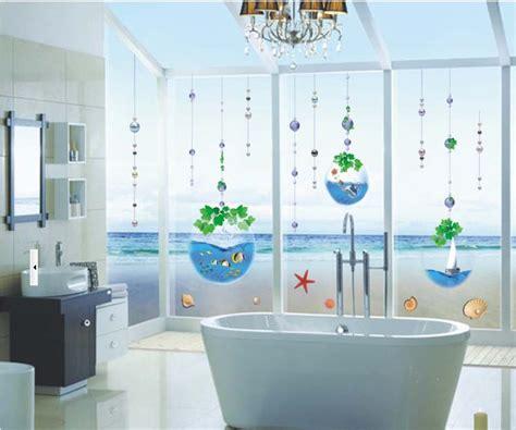 decorative window decals for home crystal fish tank bead curtain bathroom glass window