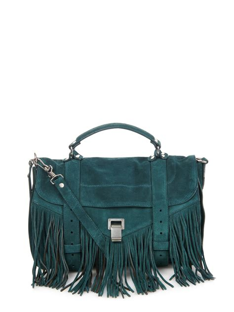 20683 Blue Shoulder Bag 3 In 1 lyst proenza schouler ps1 medium fringe suede shoulder bag in blue
