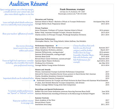 resume music resume ideas