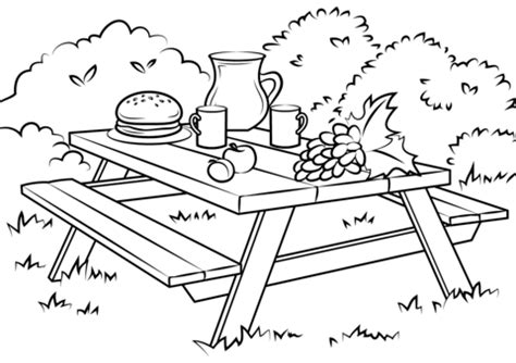 picnic coloring pages preschool picnic table coloring page free printable coloring pages