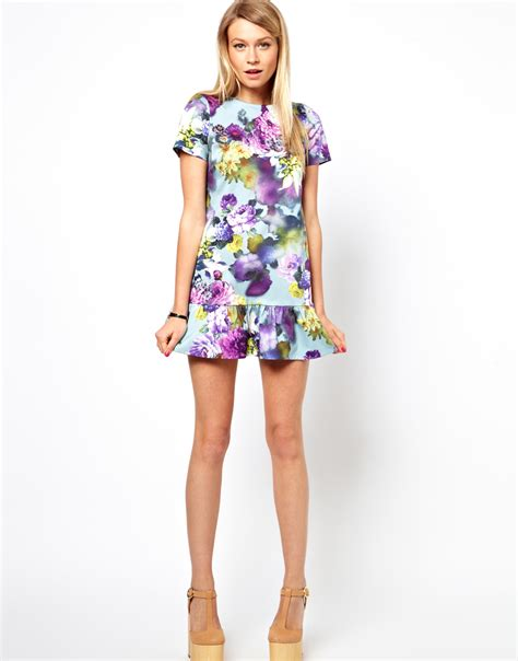 Mini Dress Floral asos exclusive floral mini dress with drop waist lyst