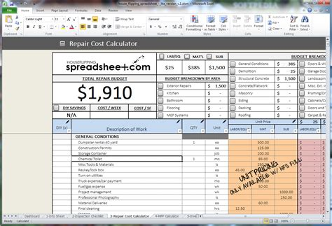 Property Flipping Spreadsheet by House Flipping Spreadsheet