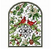 Stain Glass Winter Cross Stitch Pattern Flowers