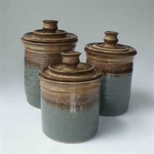Pottery Canisters Kitchen Pottery Canister Set Ships In 1 Week Kitchen Set Of 3 Jars