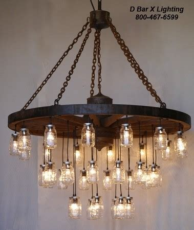 wagon wheel light with jars ww755 rustic wagon wheel chandelier light fixture with