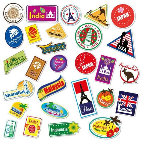 Koffer Mit Sticker by World Travel Locations Suitcase Stickers Set Of 28