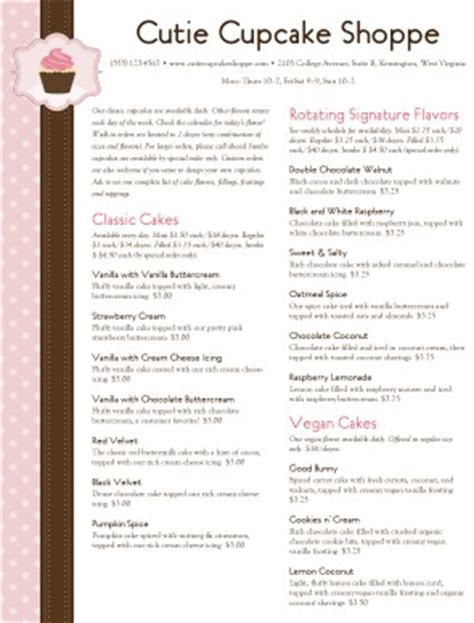 cupcake menu template ideas pinterest menu templates