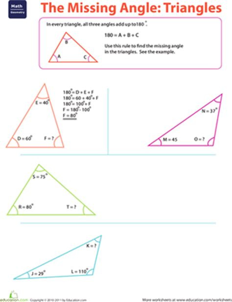 finding missing angles of a triangle worksheet the missing angle triangles worksheet education