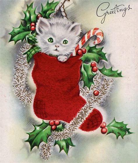 vintage christmas  kitten  stocking cat christmas cards vintage christmas cards