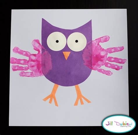 easy owl crafts for owl craft idea handprints k2 classroom crafts