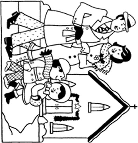 coloring page of family going to church natal