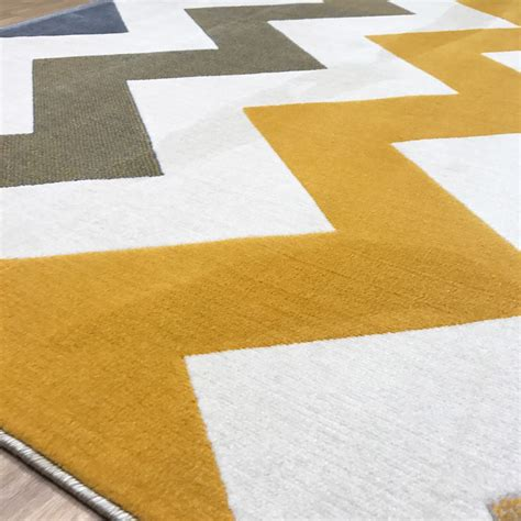 Grey And Mustard Rug by New Venus Zig Zag Mustard Gold Grey Large