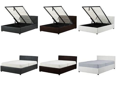 Single Ottoman Storage Bed New Ottoman Storage Bed Black Brown White Single King Faux Leather Ebay