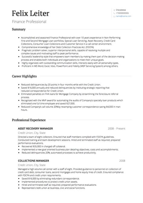 Banking Resume Template
