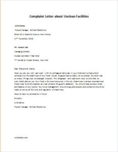 Complaint Letter To Facility Manager Complaint Letter On Cleanliness Just B Cause
