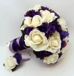 Real touch flowers bridal bouquet fake flower bridal bouquet purple