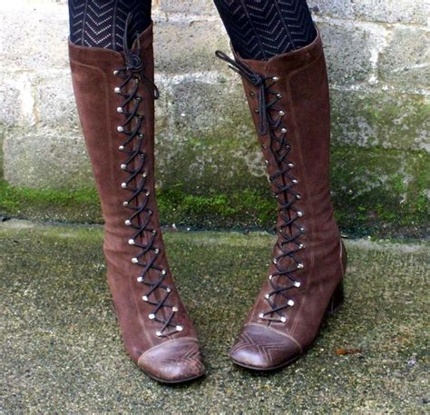 hippie boots chocolate brown 70s lace up hippie boots 8 5
