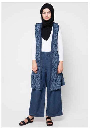 Baju Batik Kombi Burung contoh busana muslim batik kombinasi 2016
