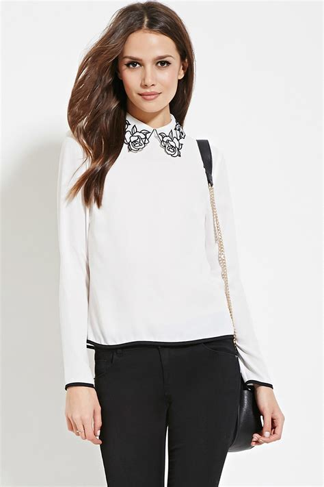 Forever Blouse forever 21 contemporary collar blouse in white lyst