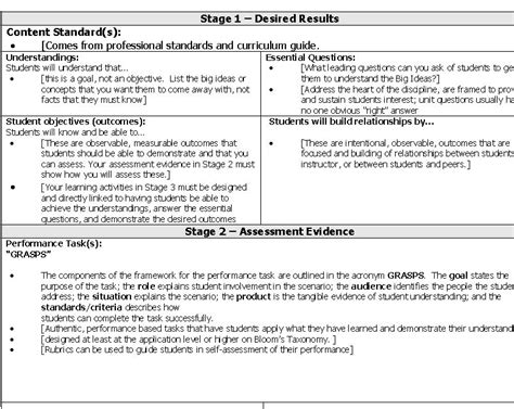 ubd lesson plan template ubd lesson plan