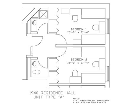 Cottage Floor Plan 1940 residence hall university housing and residential life